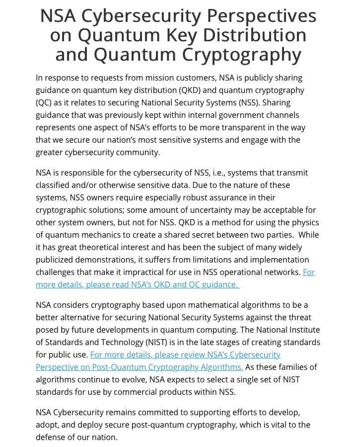NSA Cybersecurity Perspectives on Quantum Key Distribution and Quantum Cryptography