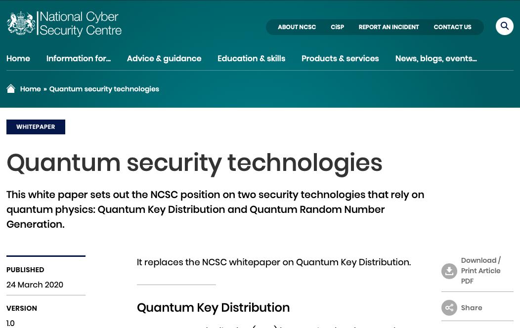 Quantum Security Technologies